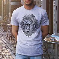 Футболка мужская молодежная с принтом «Лев», хлопок 100%