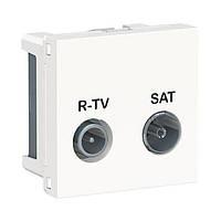 Розетка R-TV SAT одинарная 2 модуля белый UNICA NEW NU345418