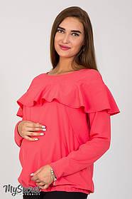 Летняя блузка   для беременных и кормящих с воланом, размеры от 44 до 48