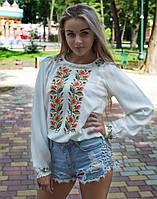 """Блуза жіноча вишита хрестиком """"Соняшники"""" розмір, фото 1"""