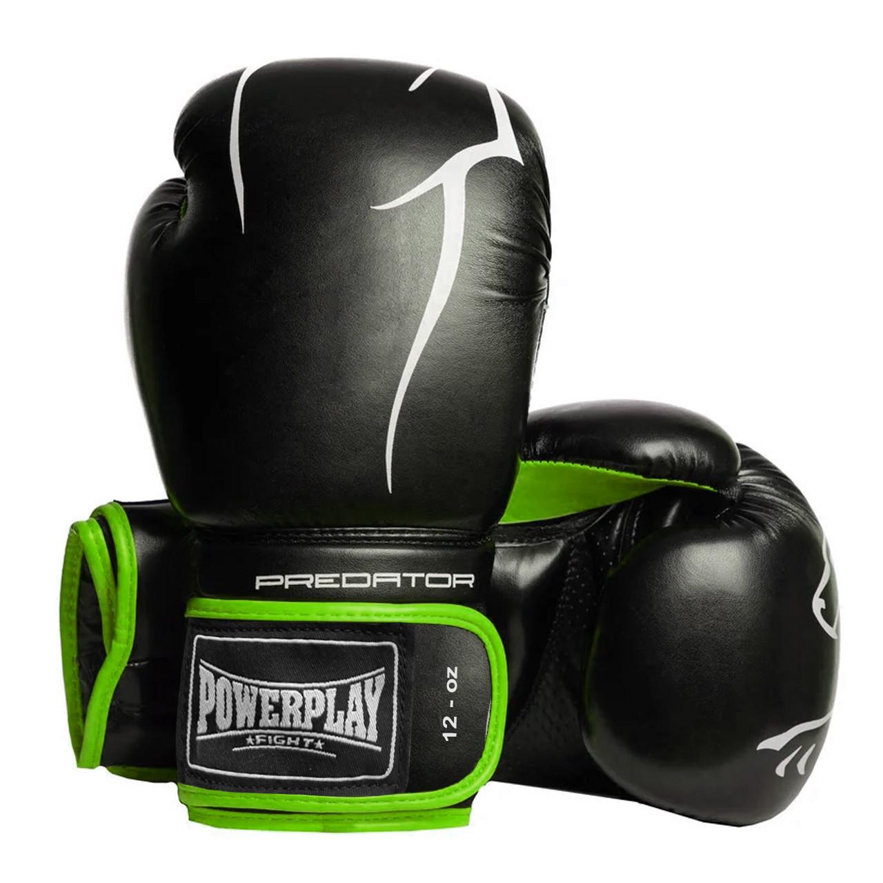 Боксерские перчатки PowerPlay 3018 черно-зеленые 12 унций
