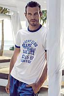 Белая мужская футболка David Man D1 3970 B 48(M) Синий-Белый David Man D1 3970 B