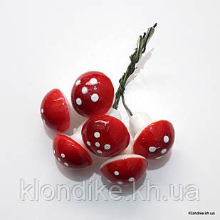 Грибы Мухоморы Пенопластовые, 2.5×2.5 см, Цвет: Красно-белый (6 шт.)