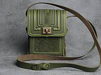 Кожаная зелёная сумка ручной работы с тисненым орнаментом, мужская кожаная сумка-барсетка через плечо, фото 1