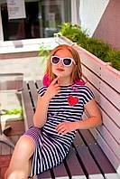 Платье полоска принт сердце девочке рост 134-170
