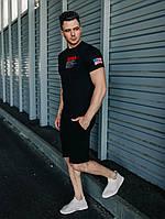 Комплект мужской летний Nasa ALL-Black | Шорты + Футболка трикотажные, фото 1