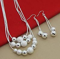"""Набор """"Анна"""" покрытие серебро 925 проба (серьги, ожерелье)."""