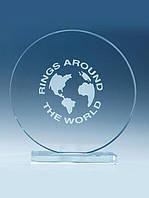 Круглая награда из стекла, 95 мм, 105 мм, 95 мм, 50 мм, 10 мм