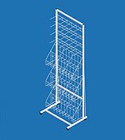 "Стеллаж с сетчатыми корзинами под колготы ""Ева"" 3 корзины и 4 секции кронштейнов (ширина 600 мм.)"