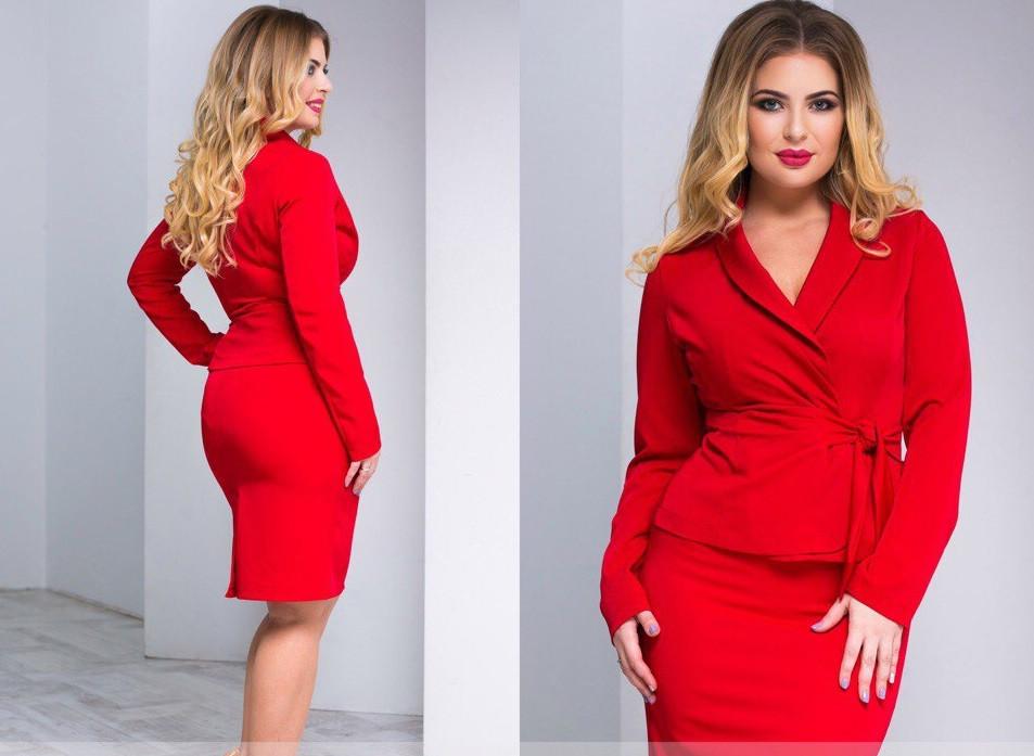 С1632 Летний юбочный костюм батал красный/ красного цвета