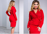 С1632 Летний юбочный костюм батал красный/ красного цвета, фото 1