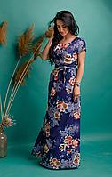 Платье женское в пол из легкой ткани софт синего цвета