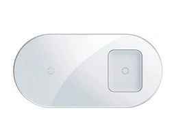 Беспроводное зарядное устройство Baseus Simple 2 in 1 15W Max For Phones + Pods White