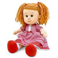 Мягкая игрушка - КУКЛА КАТЮША В КРАСНОМ ПЛАТЬЕ (муз., 24 см)