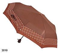 Зонт женский автомат коричневый в горошек