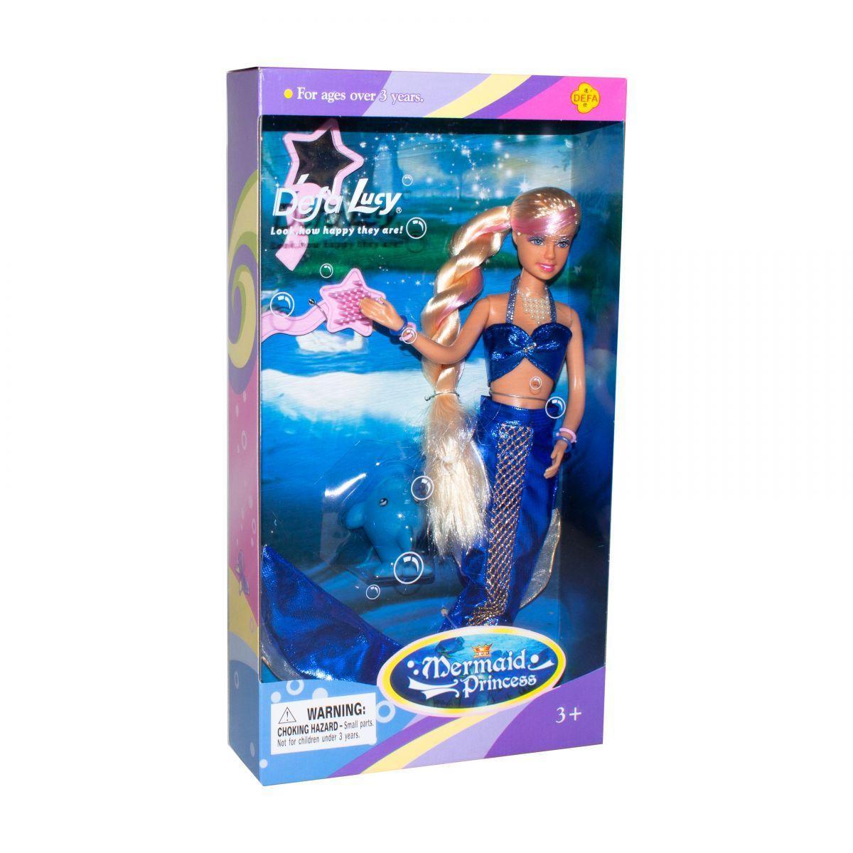 Кукла Defa: Русалка с питомцем (синяя)