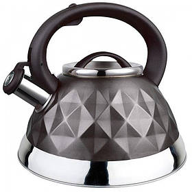 Чайник для плиты Maestro 3 л из нержавеющей стали со свистком Темно-серый RMR-1311G