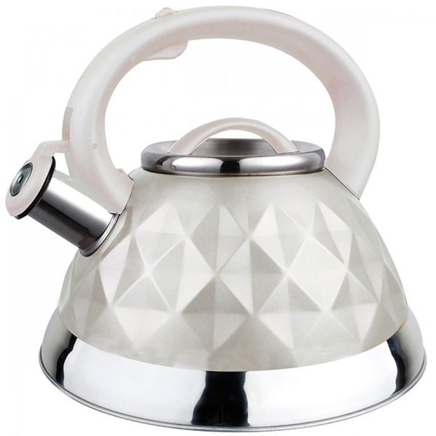 Чайник для плиты Maestro 3 л из нержавеющей стали со свистком Белый RMR-1311