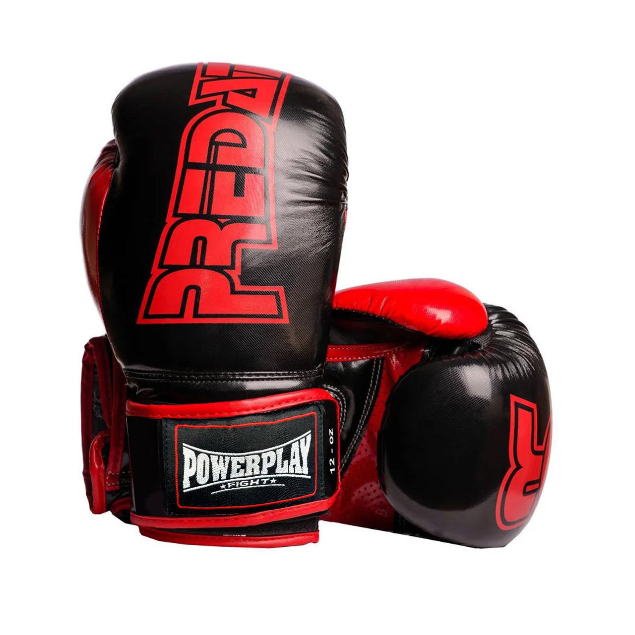 Боксерські рукавиці PowerPlay 3017 Чорні карбон 12 унцій