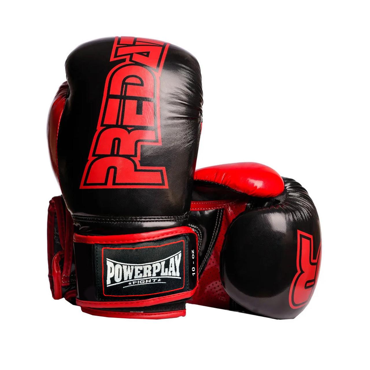 Боксерские перчатки PowerPlay 3017 черные карбон 10 унций