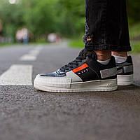 Чоловічі кросівки Nike Air Force n 354 black orange, Репліка, фото 1
