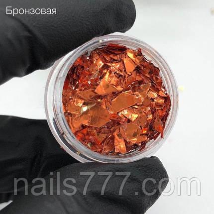 Слюда для дизайна ногтей бронзовая, фото 2