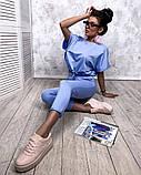 Женский повседневный спортивный костюм брюки и укороченная кофта свободного кроя в расцветках, фото 6