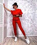 Женский повседневный спортивный костюм брюки и укороченная кофта свободного кроя в расцветках, фото 3