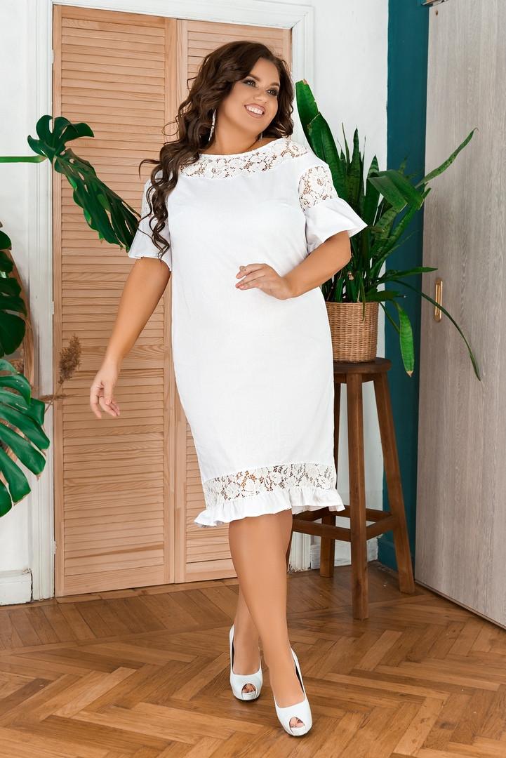 Жіноча біле лляне плаття з мереживом батал розміри 48-66