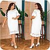 Жіноча біле лляне плаття з мереживом батал розміри 48-66, фото 6