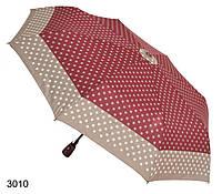 Зонт женский автомат бордовый с серым в горошек, фото 1