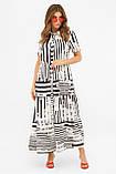 Летнее платье макси с короткими рукавами белое с черными полосами Дженни, фото 2