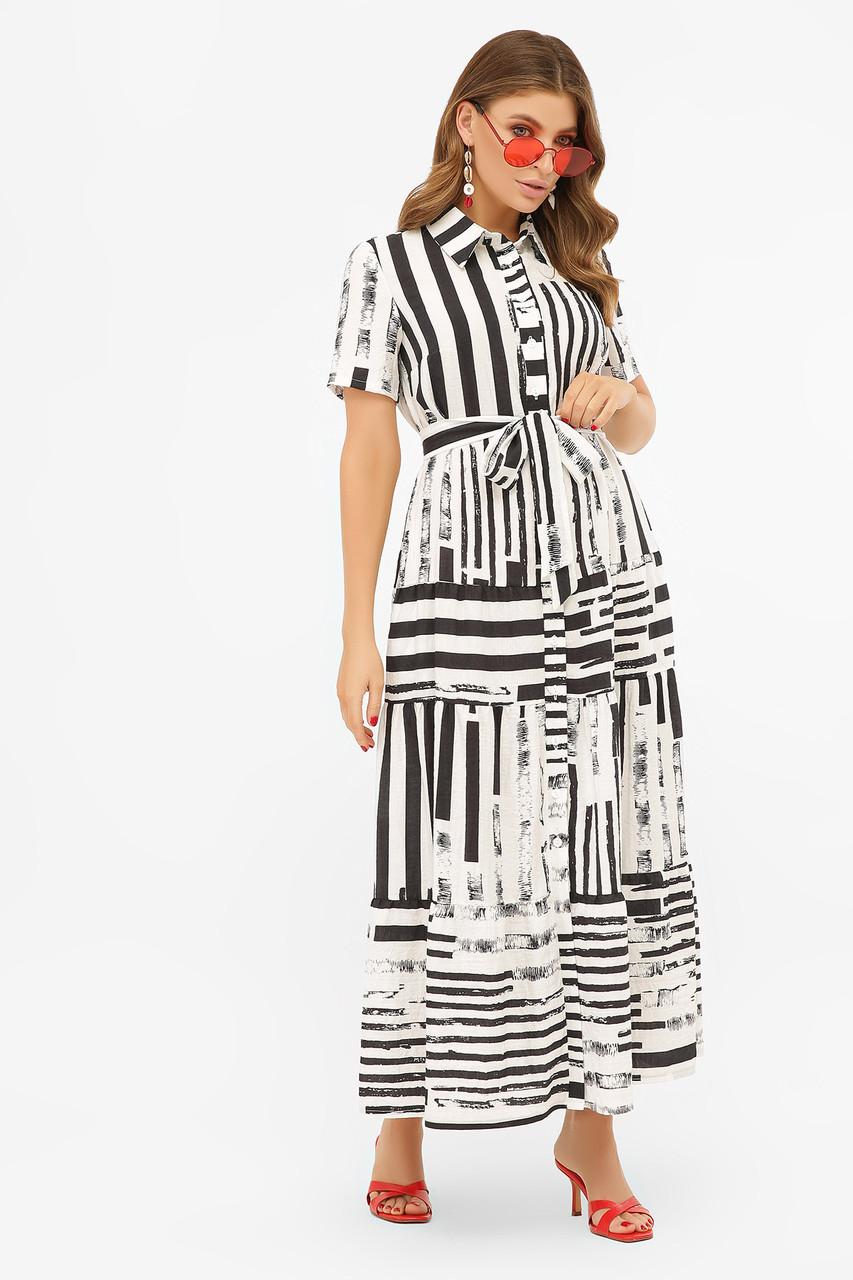 Летнее платье макси с короткими рукавами белое с черными полосами Дженни