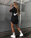 Женское летнее спортивное платье Nike белое и черное, фото 3