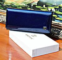 Женский кошелек BRETTON Dark Blue лаковый, Натуральная Кожа