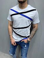 Белая мужская удлиненная футболка в черно-синюю полоску летняя мужская белая полосатая футболка