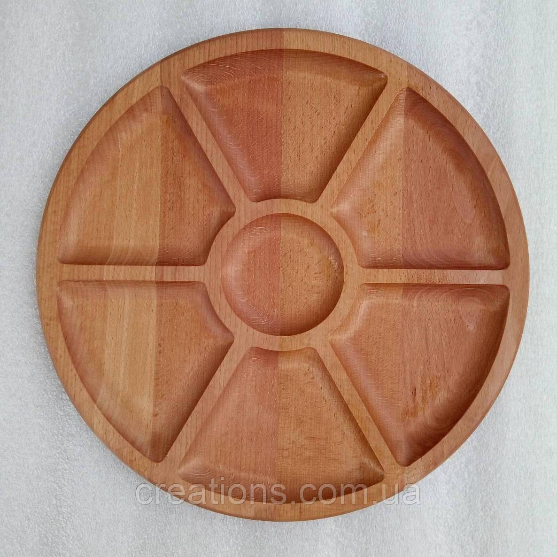 Менажница деревянная 30 см. круглая на 6 секции с соусницей из бука БМ-9