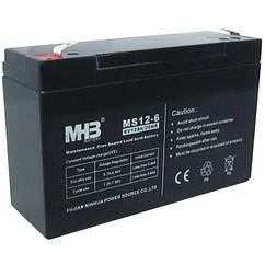 MHB battery Aккумулятор AGM 12Ач 6В, необслуживаемый герметичный, модель MS12-6, MHB battery