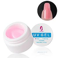 Гель для наращивания (укрепления) ногтей розовый Pink, 15мл