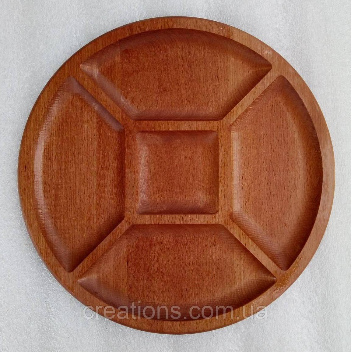 Менажница деревянная 30 см. круглая на 4 секции с соусницей из бука БМ-54