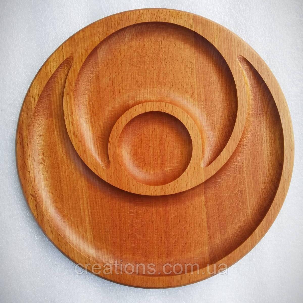 Менажниця дерев'яна 30 см кругла на 2 секції з соусницей з бука БМ-18