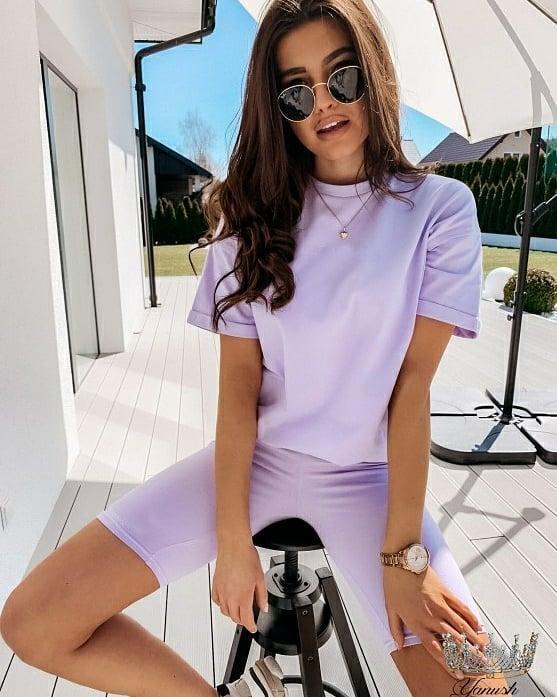 Женский летний костюм футболка свободного кроя и велосипедки