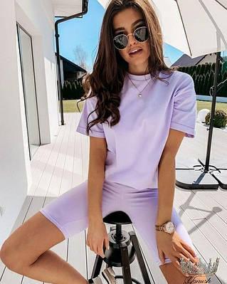 Женский костюм велосипедки и футболка свободного кроя в ярких цветах
