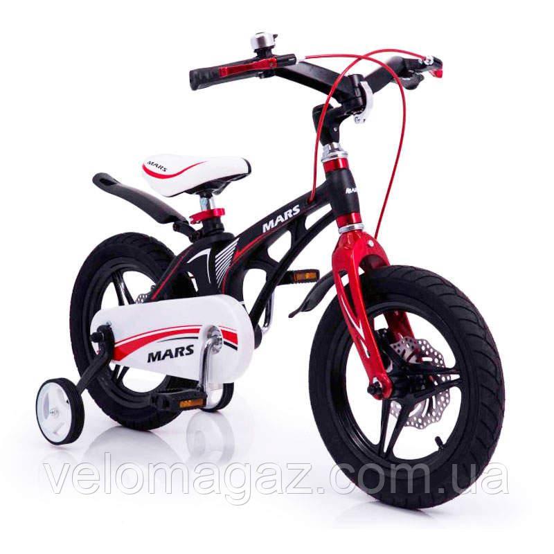 """Детский велосипед SIGMA MARS-16"""", часы, ДИСКОВЫЙ ТОРМОЗ,  литые диски, Black"""