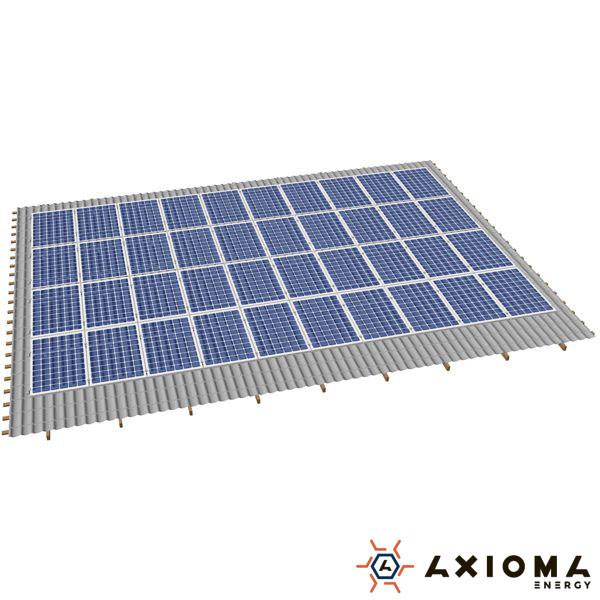 AXIOMA energy Система креплений на 38 панелей параллельно крыше, алюминий 6005 Т6 и нержавеющая сталь А2, AXIOMA energy