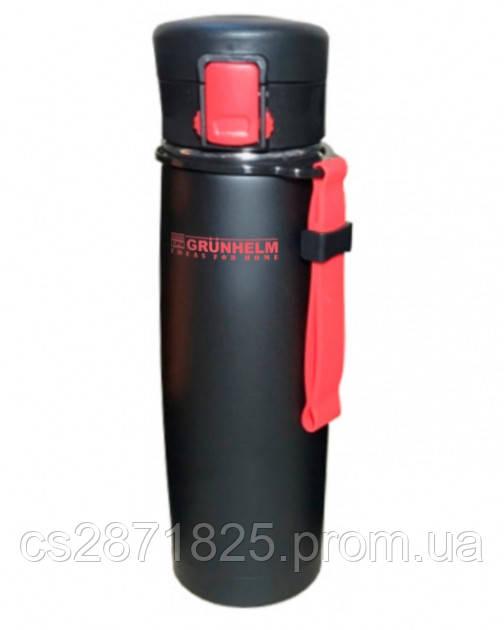 Термокружка з нержавіючої сталі 500мл GTC502, (чорне покриття)із силік.ременем(червоний) (GRUNHELM)