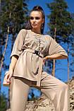 Костюм жіночий з брюками і футболкою вільного крою бежевого кольору літо, фото 6