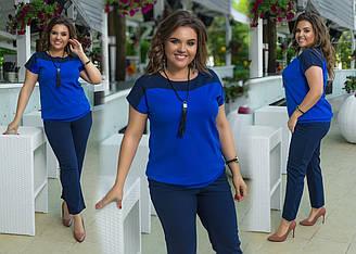 Нарядный костюм больших размеров, Женский летний нарядный костюм двойка брюки+ блуза со вставками, Костюм блуза и брюки.