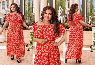Длинное шикарное летнее платье большого размера, Длинное летнее платье женское большие размеры, Платья с воланами больших размеров