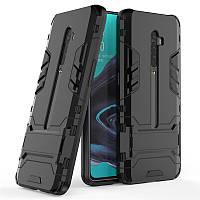 Чехол Hybrid case для Oppo Reno 2 бампер с подставкой черный